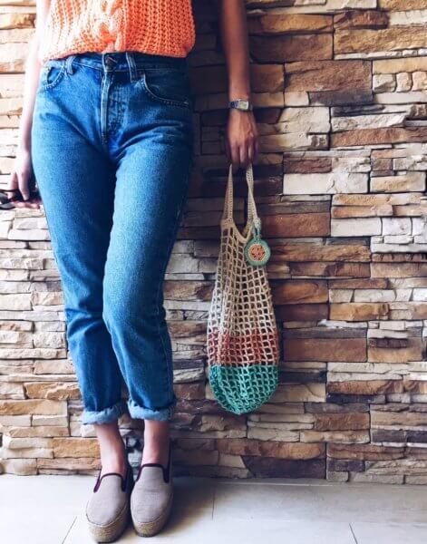 Patrón Bolsa de red de crochet alimaravillas